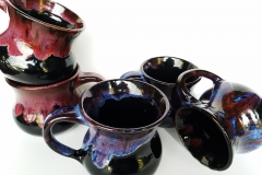 Obsidian Mugs with Chun Plum, Indigo Float, and Smokey Merlot