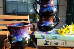 Obsidian Mugs with Indigo Float and Chun Plum