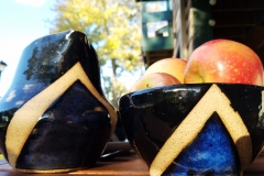 Blue Chevron Pitcher and Bowl